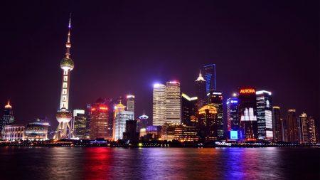 china, shanghai, night city