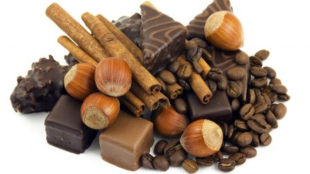 chocolate, nuts, coffee beans