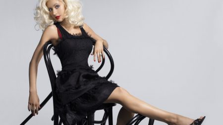 christina aguilera, dress, black