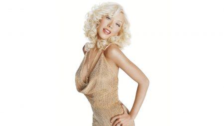 christina aguilera, dress, blonde