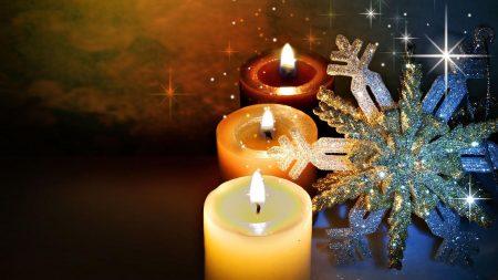 christmas candle, snowflake, glitter