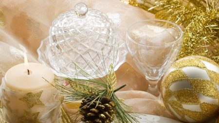 christmas decorations, candle, table