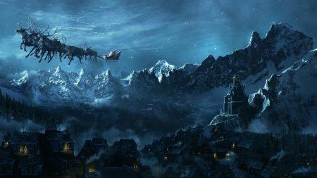 christmas, sleigh, flying