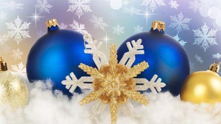 christmas toys, balls, snowflake