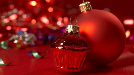 christmas toys, close-up, red background