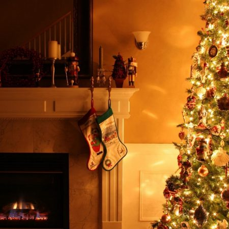 christmas tree, fireplace, garland