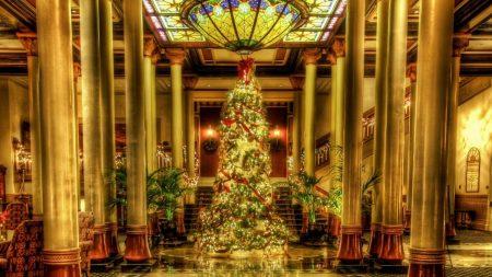 christmas tree, ornaments, garlands