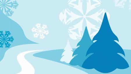 christmas trees, snowflakes, road