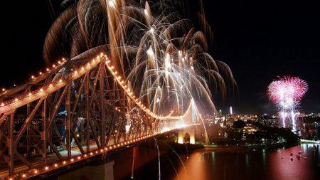 city, bridge, fireworks
