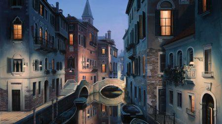 city, building, river