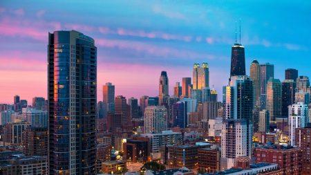 city, chicago, sunset