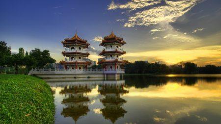 city, china, water