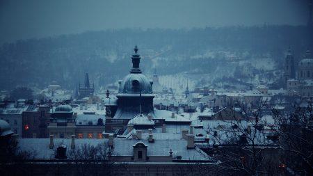 city, ?? church, dawn