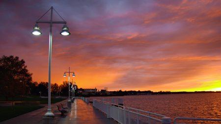 city, evening, sunset