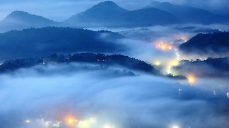 city, fires, fog