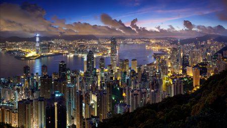 city, hong kong, night