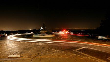 city lights, night, street