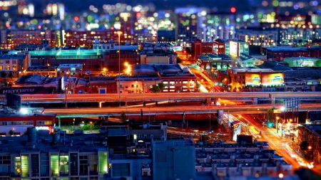 city, night, bokeh