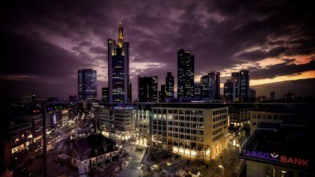 city, night, building