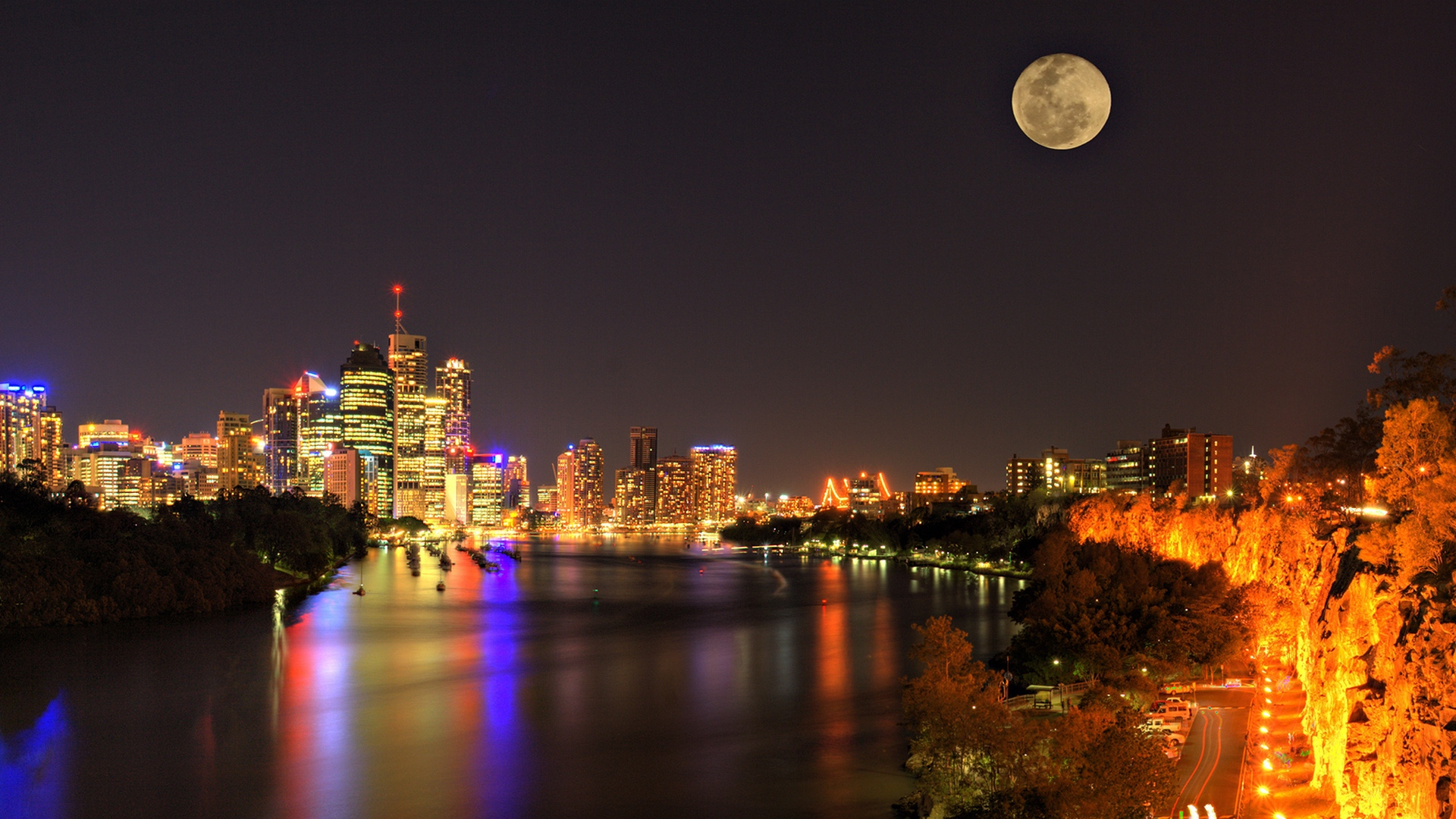 Earnings Disclaimer >> Download Wallpaper 1920x1080 city, night, river, bridge ...