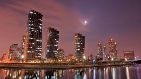 city, night, sky