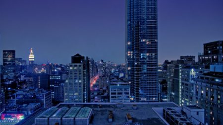 city, night, skyscraper