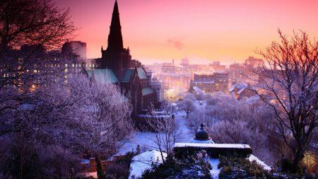 city, night, winter