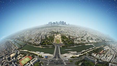 city, panorama, top view