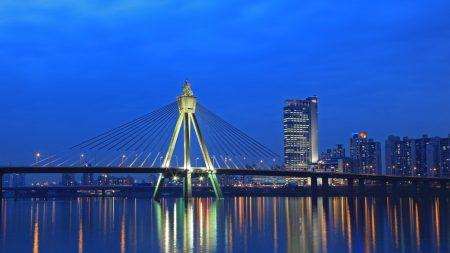 city, river, night