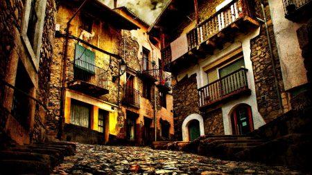city, road, narrow