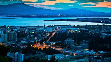 city, sky, night