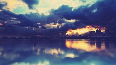 city??, skyline, river