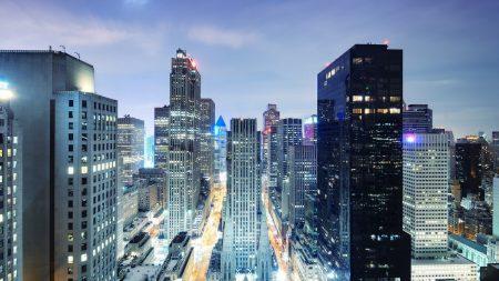 city, skyscrapers, night