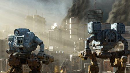 city, skyscrapers, robots
