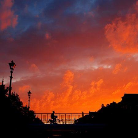city, sunset, bridge