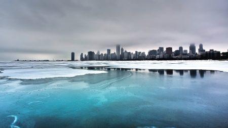 city, winter, ocean