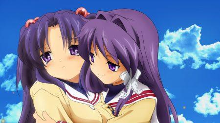 clannad, girl, hugging