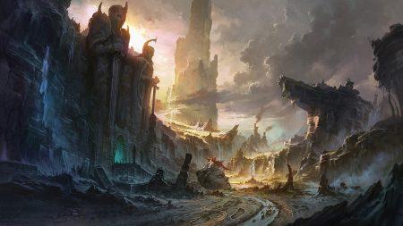 cliffs, destruction, city