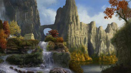cliffs, waterfalls, sky
