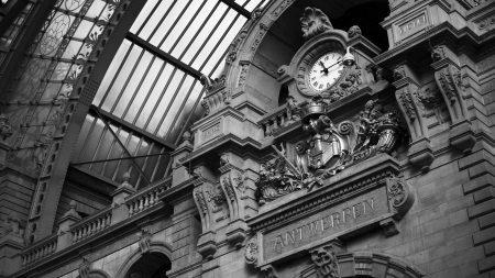 clock, wall, black white