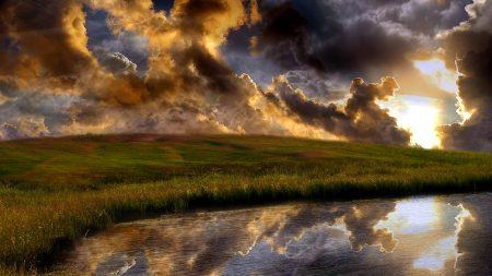 clouds, grass, reflection