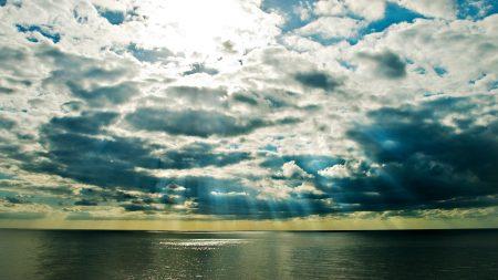 clouds, sea, beams