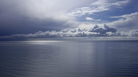 clouds, sea, water smooth surface