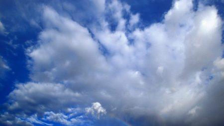 clouds, sky, rainbow