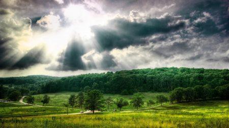 clouds, sun, beams