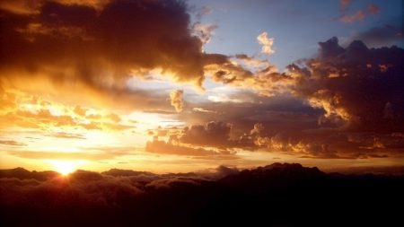 clouds, sun, sunset