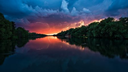 clouds, thunder-storm, river