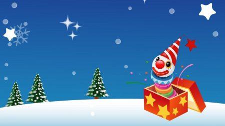 clown, gift, trees