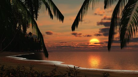 coast, morning, sun