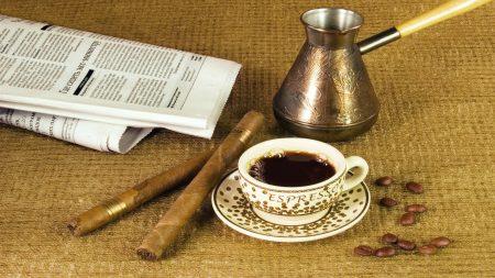 coffee, cup, newspaper